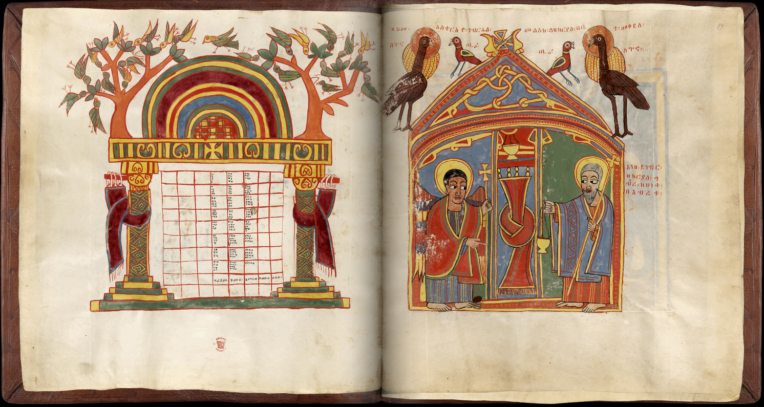 Ethiopian Sacred Book, Canon Table And Annunciation To Zechariah