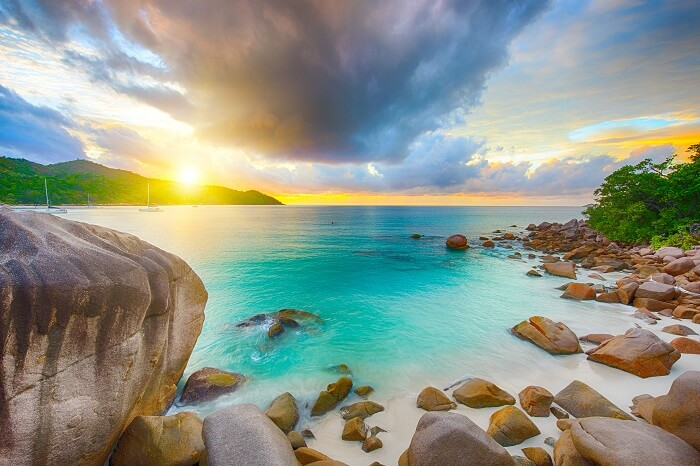 Beautiful-sunset-over-the-famous-beach-Anse-Lazio-in-Praslin-island