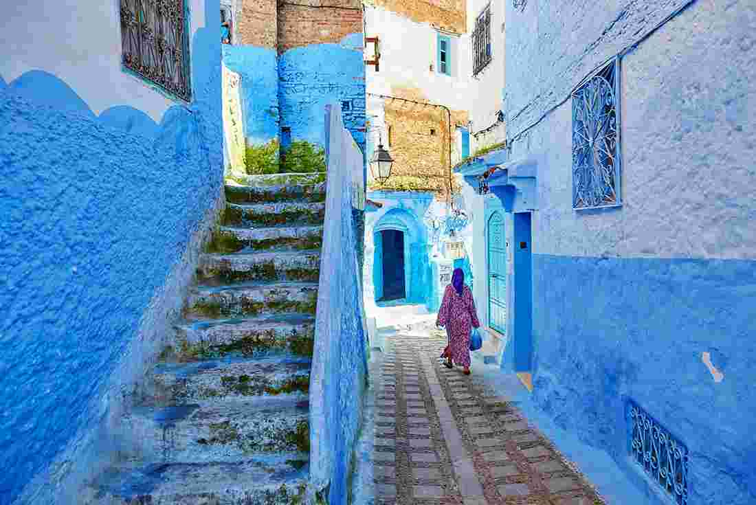 Morocco-Chefchaouen-Medina-Woman-Alley-Blue