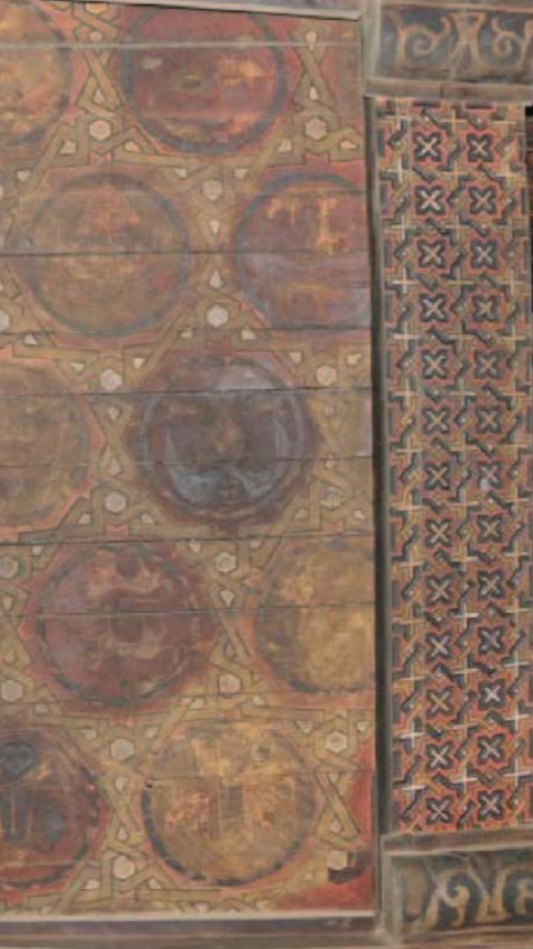 The wooden surfaces are painted  throughout. The geometrical paintings are  contemporary with the construction of the  church. Image CHWB