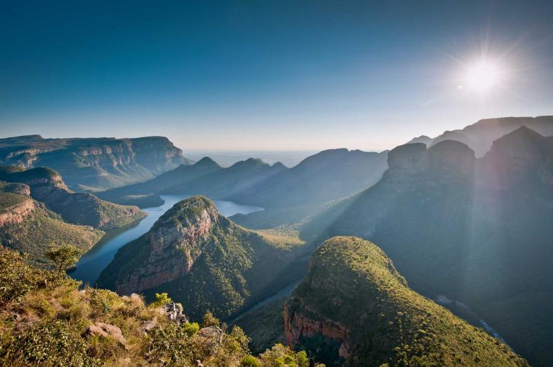 Africa South Africa Morning Sunlights Baths The Blyde River Canyon In Mpumulanga