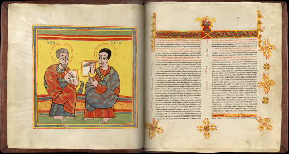 Ethiopian Sacred Book, Portraits Of Luke And John And John\'s Gospel