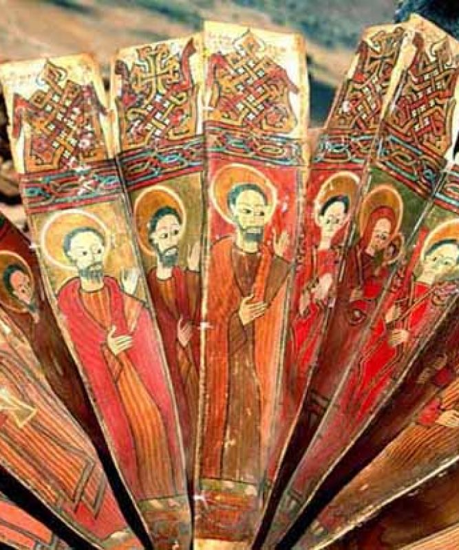 Ancient illuminated prayer fan, Geralta