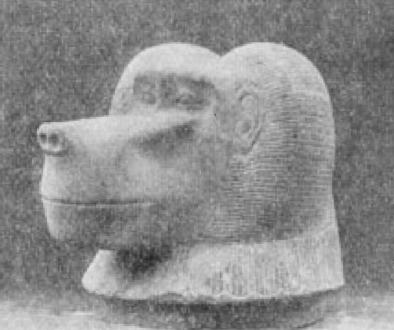 "Alabaster ape's head, lid of canopic jar, "" Figures and models of bricks, made of mud, and a blue"