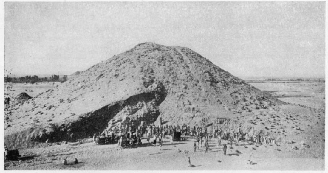 "Beginning of excavation of Pyramid I, tomb of Tirhaqa. The mass of debris seen from the ""Northwest """