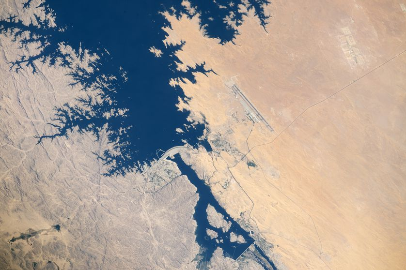 Aswan High Dam on the Nile River, as seen from space