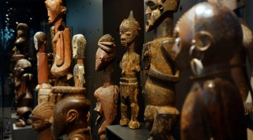 Wooden African statuettes in the AfricaMuseum.