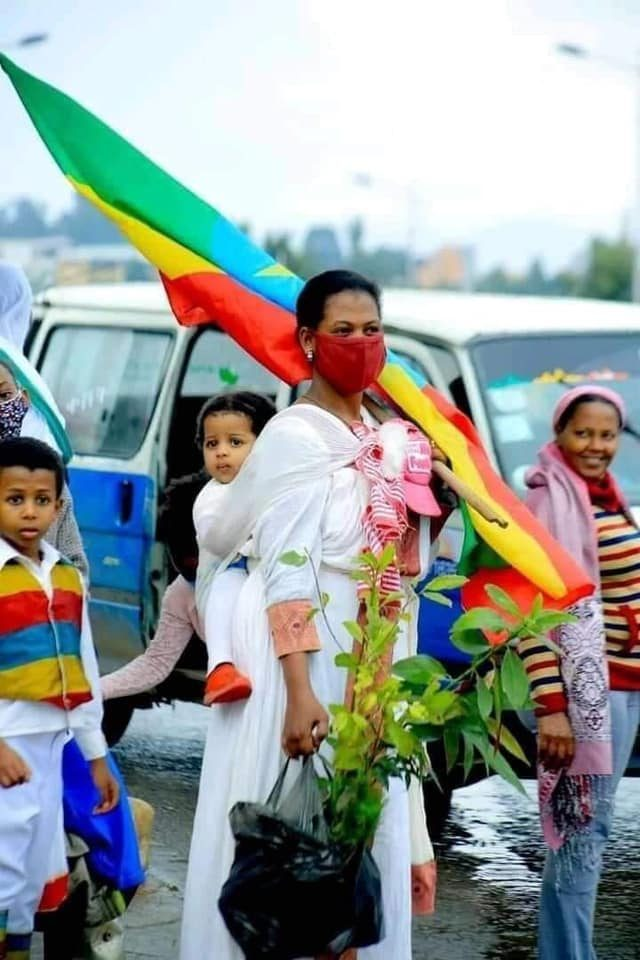 An Ethiopian mother carrying her child in her back while she is holding the flag on one hand and a tree which she will plant on her other-hand