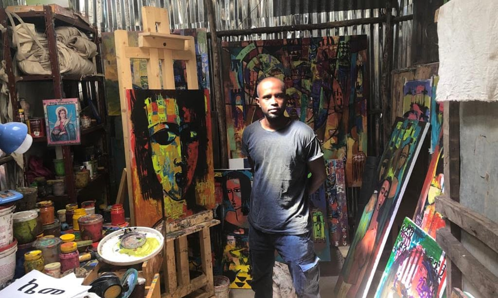 Yonas Degefa in his studio