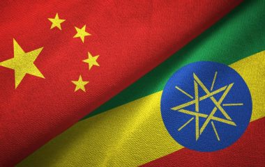 Ethiopia and China two flags together textile cloth, fabric texture
